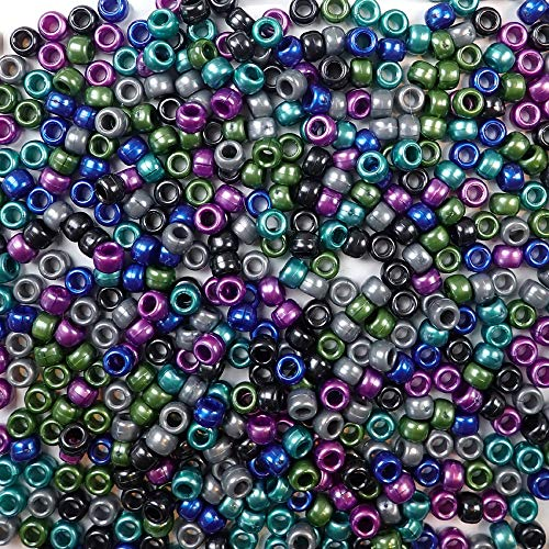 Cool Pearl Multicolor Mix Plastic Craft Pony Beads, 6 x 9mm, 500 Beads ()