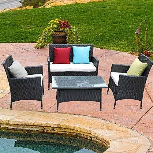 Do4U 4 Pcs Rattan Outdoor Patio Furniture Set Garden Lawn Pool Backyard Sofa Chairs Conversation Set Table (EXP-9026)