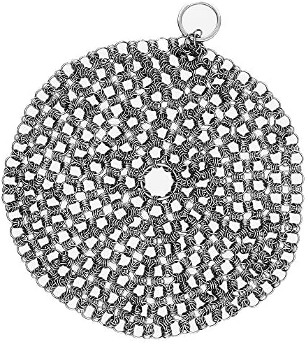 Kitchensera Cast Iron Cleaner Pack of 1- Stainless Steel 7 inches Chainmail Scrubber Durable, Hygienic and Easy to Use for Woks, Casseroles and Cookware