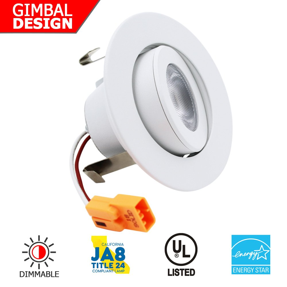 ESD Tech 2'' Inch LED Dimmable Retrofit Recessed Downlight Trim, Ceiling Light Fixture, Directional Adjustable Gimbal, 9W, 3000K Warm White, Energy Star, UL Listed, White