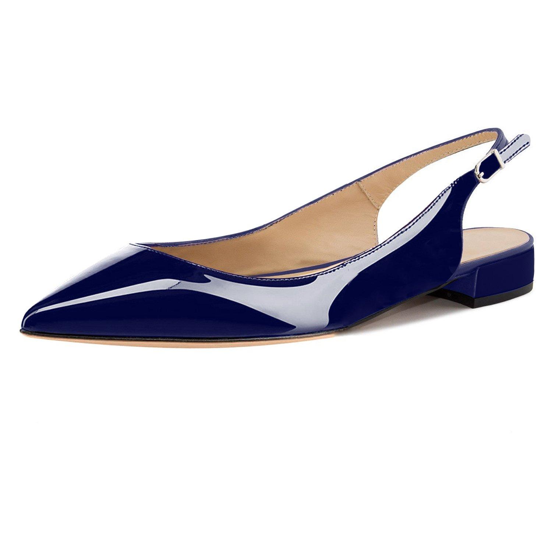 Eldof Women Low Heels Pumps | Pointed Toe Slingback Flat Pumps | 2cm Classic Elegante Court Shoes B07C2JRG31 11.5 B(M) US|Patent Blue