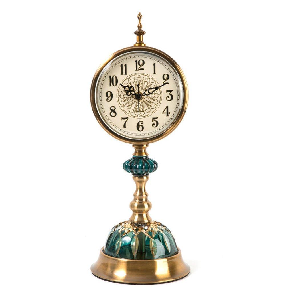 ヨーロッパのファッションメタルガラスレトロゴージャスエレガントな時計の居間大銅メッキデスクトップ振り子時計デスクトップクロッククリエイティブミュート座って時計装飾品 B07DVQJK6T