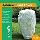 "Agfabric Warm Worth Frost Blanket - 0.95 oz Fabric of 48""Hx 55""W Shrub Jacket, Rectangle Plant Cover for Frost Protection"