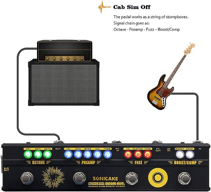 SONICAKE Boom Ave. Bass Preamp DI Box Multi Efectos Compresor Boost Fuzz Octava Pedal con FX Loop