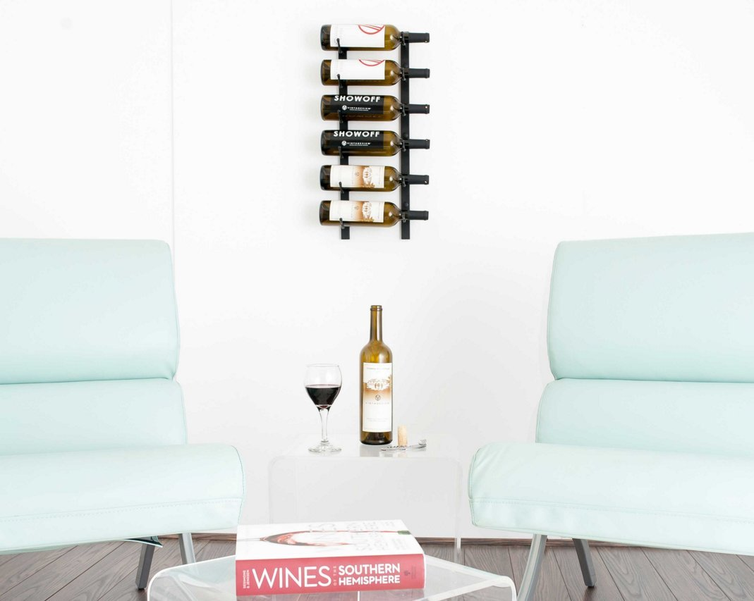 VintageView WS21 2-Foot 6 Bottle Wall Mounted Wine Rack in Chrome (1 Row Deep)
