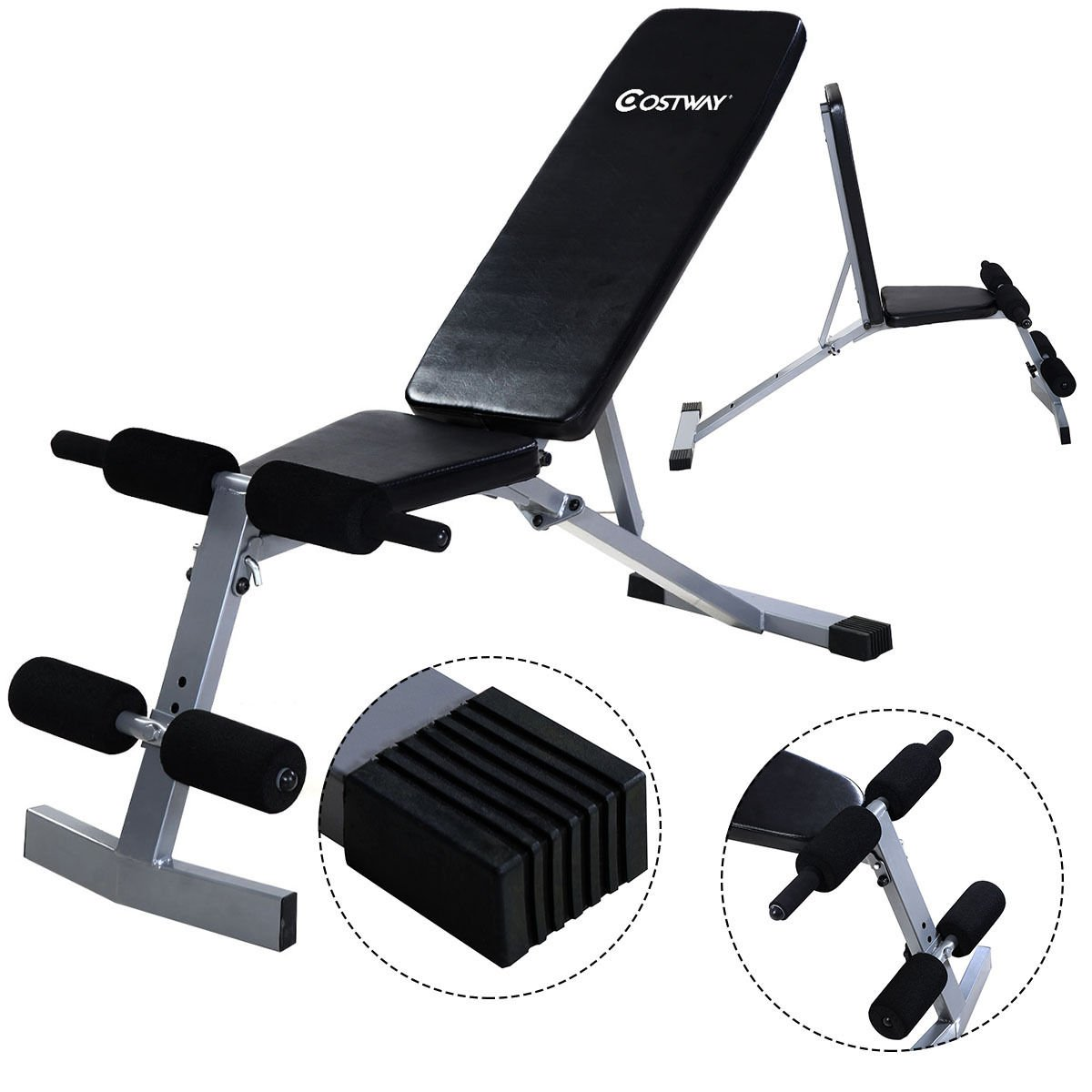 Bench Press Abs Part - 26: Amazon.com : Goplus Incline Sit Up Bench Foldable Slant Board Ab Crunch  Board Adjustable Workout Fitness Equipment : Sports U0026 Outdoors