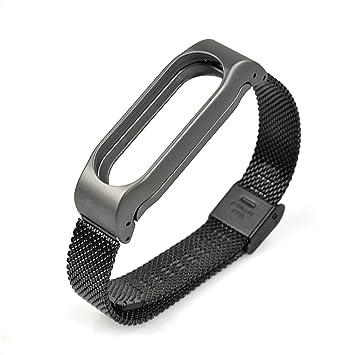 Correa de repuesto de acero inoxidable para reloj inteligente Xiaomi Mi Band 2: Amazon.es: Deportes y aire libre
