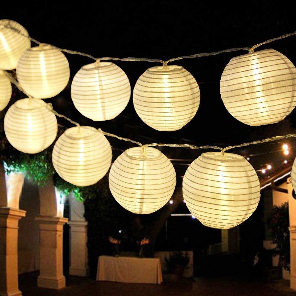 Bright Zeal 20' Long Hanging LED Lantern String Lights Battery Powered - 2PCS 10' White Decorative Lanterns for Indoors String Lights Lantern Outdoor Wedding - Mini Lantern String Lights for Bedroom