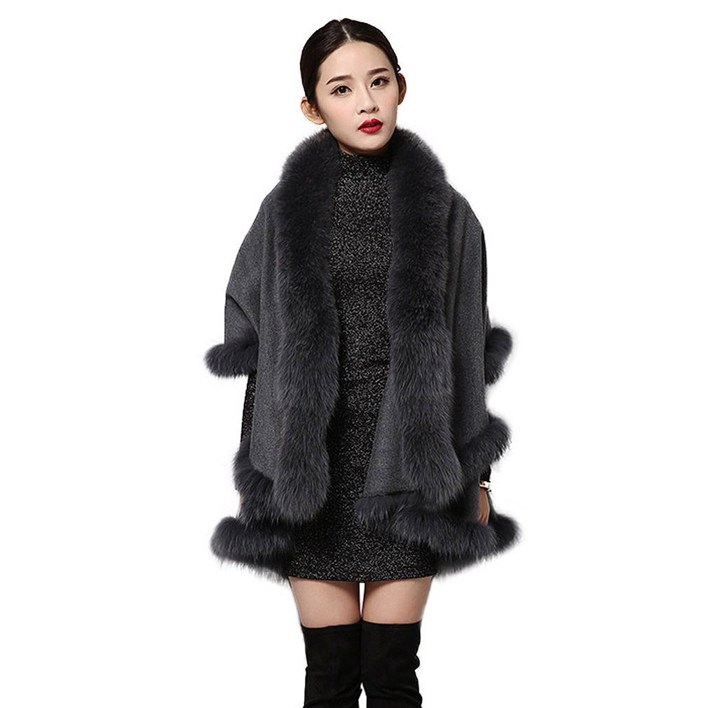 Women's Real Cashmere Poncho With Fox Fur Collar Trim and Hem Thick Warm Shawl (Gray) - Fur Story