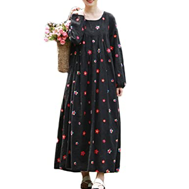 e5ca56310e LZJN Women Maxi Dress Floral Embroidered Long Sleeve Casual Dress (Black)