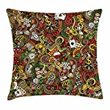 Ambesonne Casino Throw Pillow Cushion Cover, Doodles Style Artwork of Bingo and Cards Excitement Checkers King Tambourine Vegas, Decorative Square Accent Pillow Case, 26 X 26 inches, Multicolor