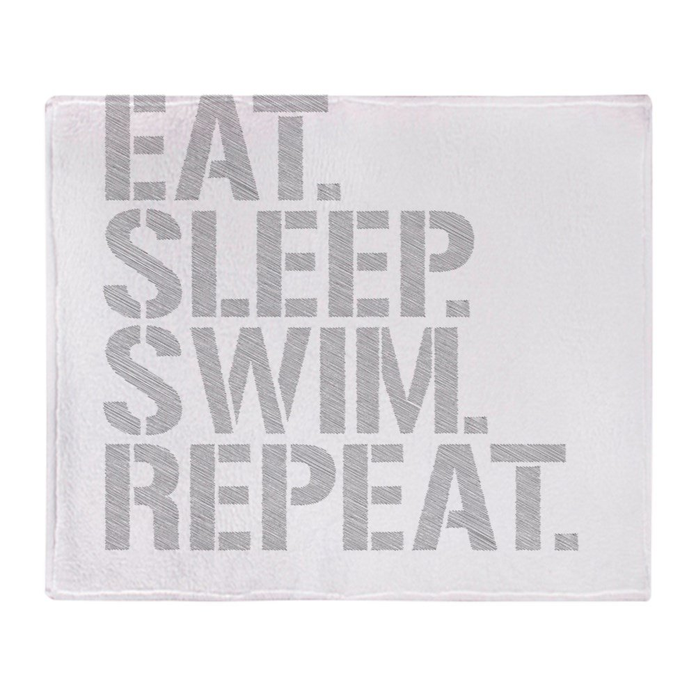 CafePress – Eat Sleep Swim繰り返し – ソフトフリーススローブランケットブランケット、50