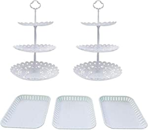 FEOOWV Set of 5 Pcs Round 3-Tier Cake Stand Party Food Server Display Stand with Plastic Serving Trays for Wedding Birthday Party Decor (Style C)