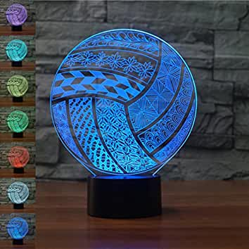 Charmant Volleyball 3D Illusion Birthday Gift Night Light, Gawell 7 Color Changing  Touch Switch Table Desk