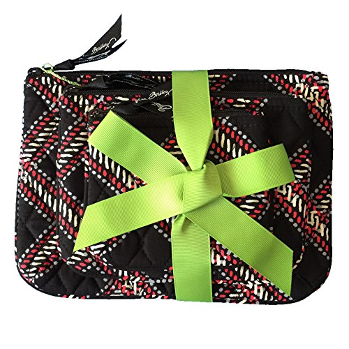 Vera-Bradley-Cosmetic-Trio-Minsk-Plaid-of-3-with-Solid-Black-Lining