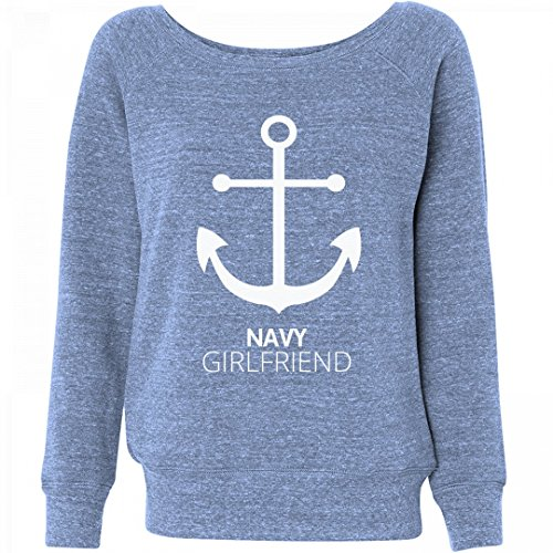 FUNNYSHIRTS.ORG Navy Girlfriend Anchor Strong: Ladies Triblend Wideneck (Girlfriend Anchor)