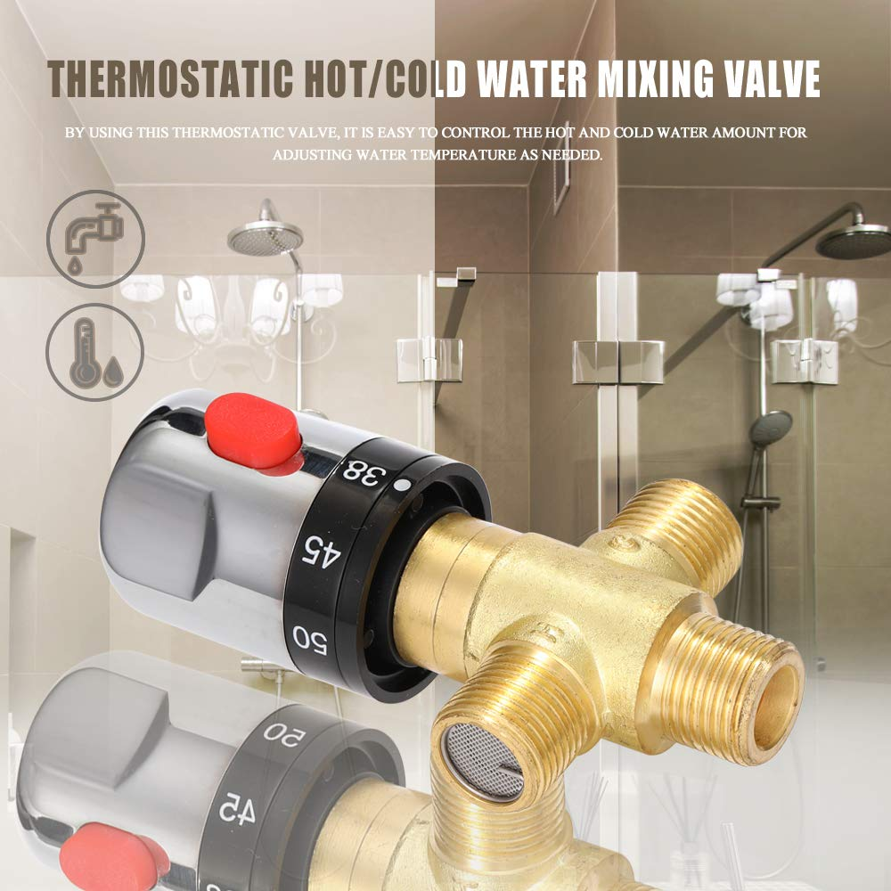KKmoon Valvola Miscelatrice Termostatica regolabile calda//fredda Valvola Termostatica per Scaldabagno Domestico Miscelatore Termostatico