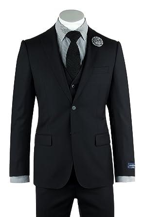 2c20b75a74a085 Image Unavailable. Image not available for. Color: Tiglio Zegna Ermenegildo  Cloth Superfine Wool Black Suit ...
