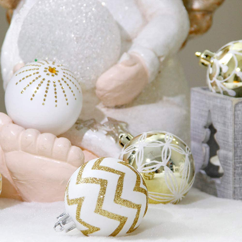 Kiyotoo 30Pack Christmas Balls Ornaments Xmas Tree Hanging Balls Pendants for Holiday Wedding Party Dance and Music Festivals Decoration White