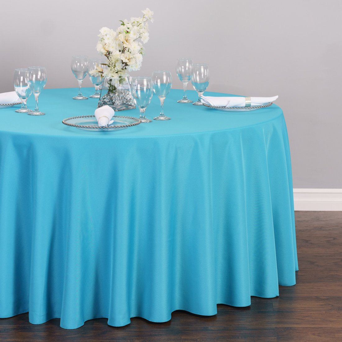 Amazoncom LinenTablecloth 120 Inch Round Polyester Tablecloth Turquoise