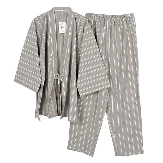 Trajes de Estilo japonés para Hombre Kimono Pijama Traje ...