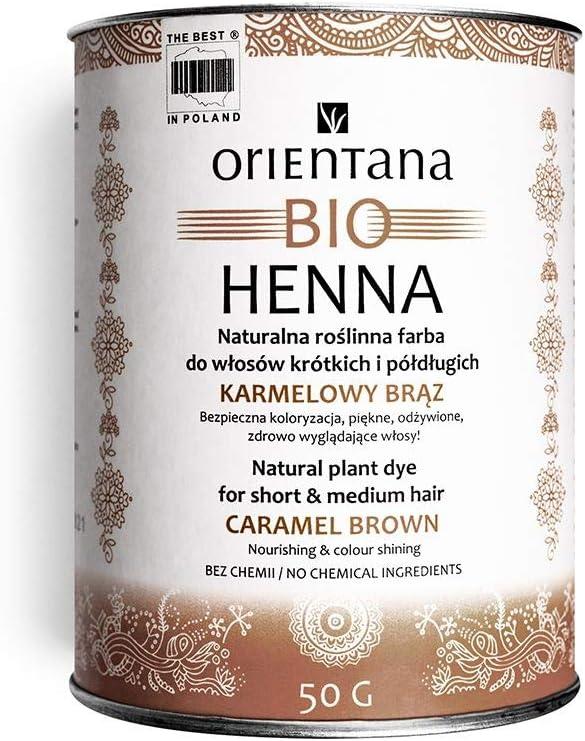 100/% vegan 100/% /à base de plantes teint les cheveux en permanence 100 g Orientana BIO HENN/É cheveux longs Ch/âtain Caramel leur donne brillance et volume