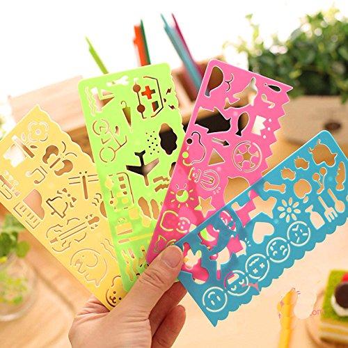 Chytaii 4pcs Regla Suave Herramientas de Dibujo Regla de Pl/ástico Plantilla de Pintura Infantil Regla de Dibujo Regla Ni/ño Cuatro Colores