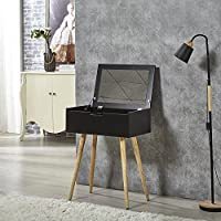 Facilehome Dressing Table Vanity Desk with Inner Dressing Mirror Makeup Organizer,Black