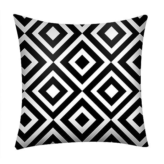 SUDADY-Home Cubierta del cojín del Coche del sofá Poliester Patrón de Negro Blanco para decoración del hogar 45 * 45cm Modernos Geométricas Almohada ...
