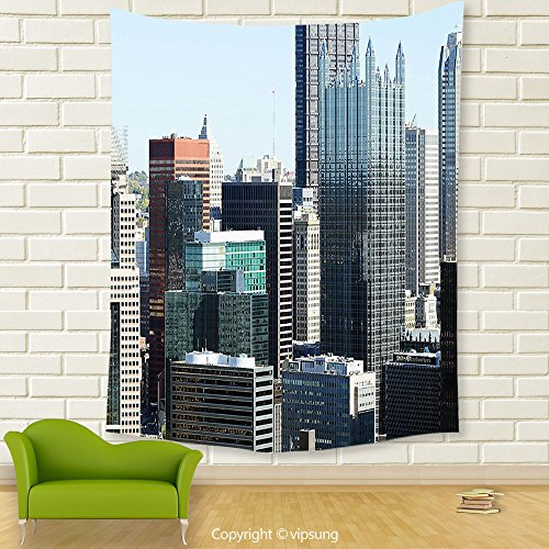 Vipsung House Decor Tapestry_Usa American Architecture Pittsburgh Pa Skyline Pennsylvania Modern Cityscape Grey Silver Light Blue_Wall Hanging For Bedroom Living Room Dorm (Halloween Parade New Hope Pa)