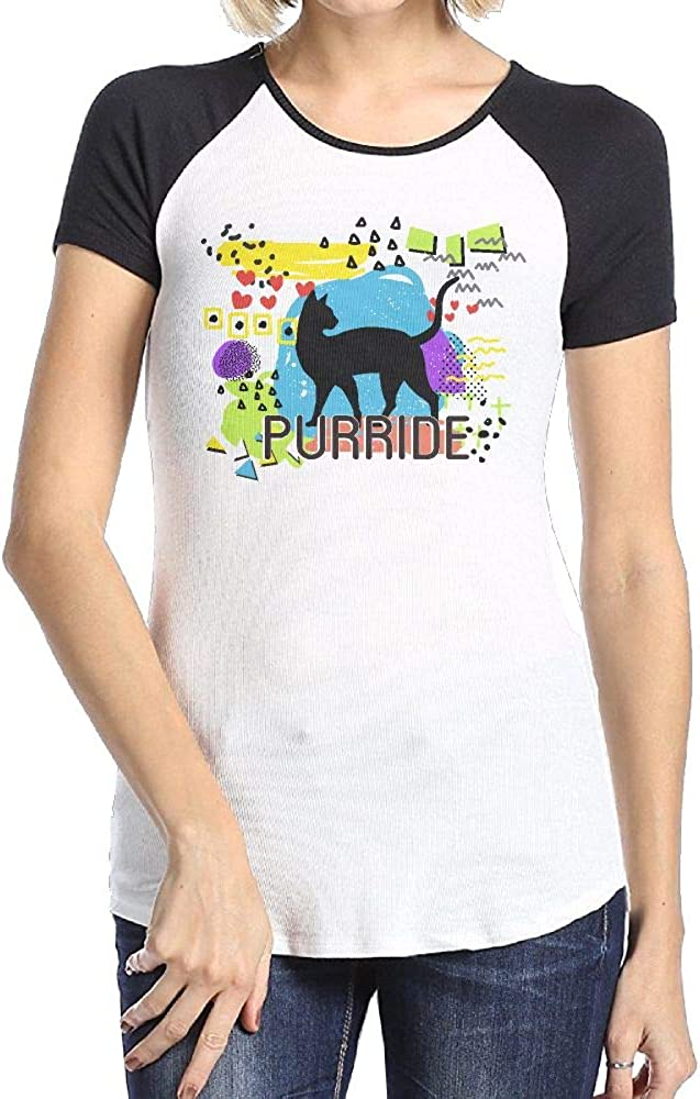 Rainbow Purride Cat Love Gay Pride Cat Casual Comfortable T-Shirts Women's Print Tee Shirts with Short Sleeve