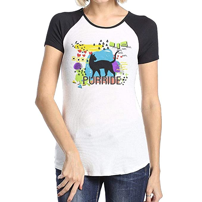 8754dbe4 Image Unavailable. Image not available for. Color: Rainbow Purride Cat Love  Gay Pride Cat Casual Comfortable T-Shirts Women's Print Tee Shirts
