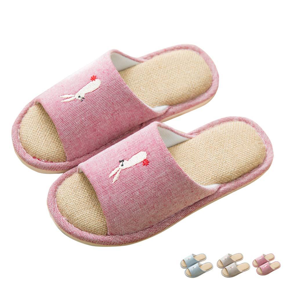 Share Maison Unisex Cute Open Toe Indoor Linen Mamory Foam Slippers Non-Slip Women's Men's House Home Shoes (US Women 6.5-7, Red)