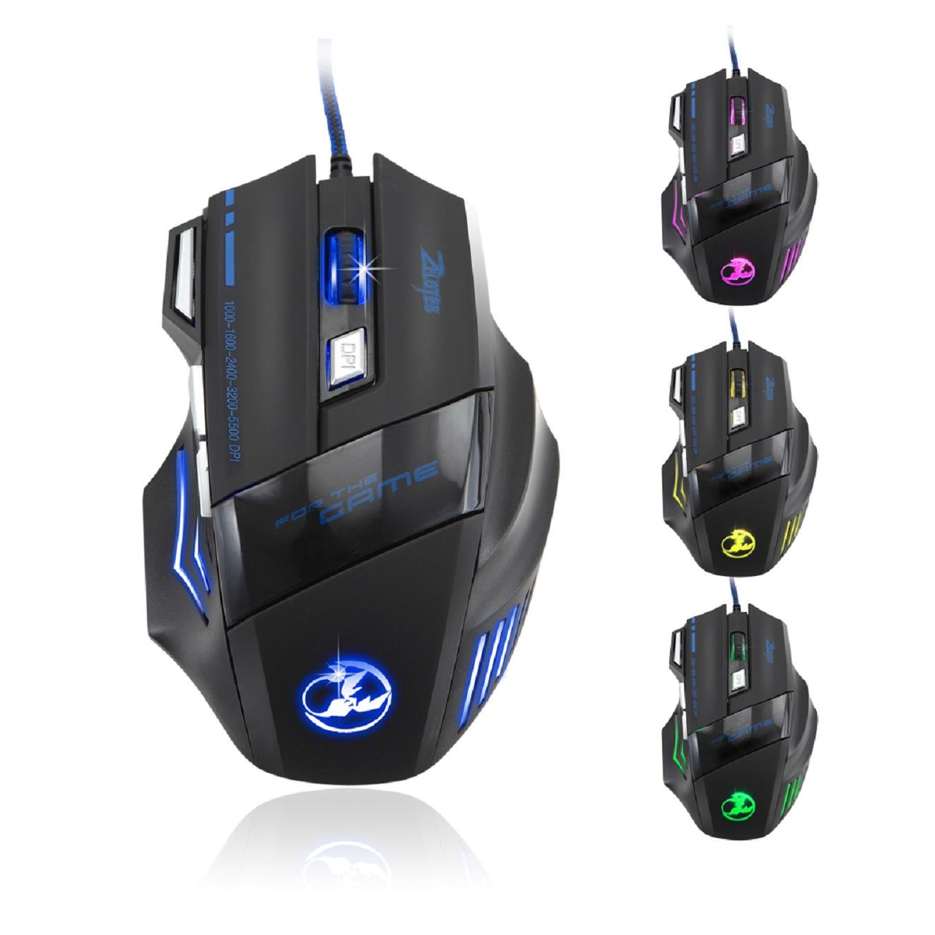 Mouse Gamer : Zelotes 5500 DPI 7 Boton LED Optico USB Con ca