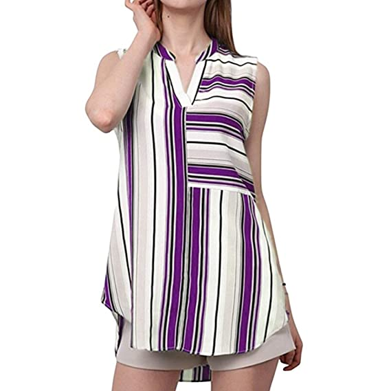 LILICAT 2018 Moda Mujer Camiseta de Verano para Mujer Blusa de Manga Corta con Cuello en V Casual Raya de Impresión Top Blusa Camiseta: Amazon.es: Ropa y ...