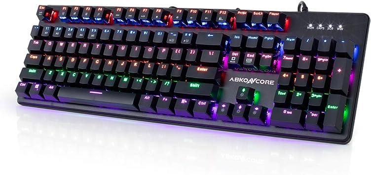ABKONCORE K595 Teclado mecánico para videojuegos, 104 teclas, 100% antighosting, retroiluminación LED arcoíris, interruptores mecánicos GTMX ...