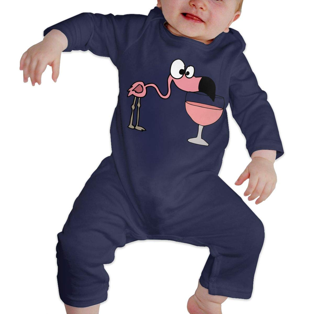 LBJQ8 Pink Flamingo Drinking Wine Infant Baby Girl Boys Long Sleeve Romper Pajama Clothes