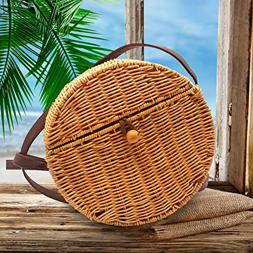 Playa Retro Bolso Elegante Biback de Tejido Vintage Hombro Ratán Bolsa Mano de de Redondo de Bolso Paja Verano Lady a Mensajero qqORZ