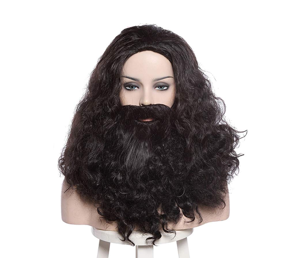 Hagrid Cosplay Wig Costume Props Curly Wavy Beard Hair Halloween Party Brown Men