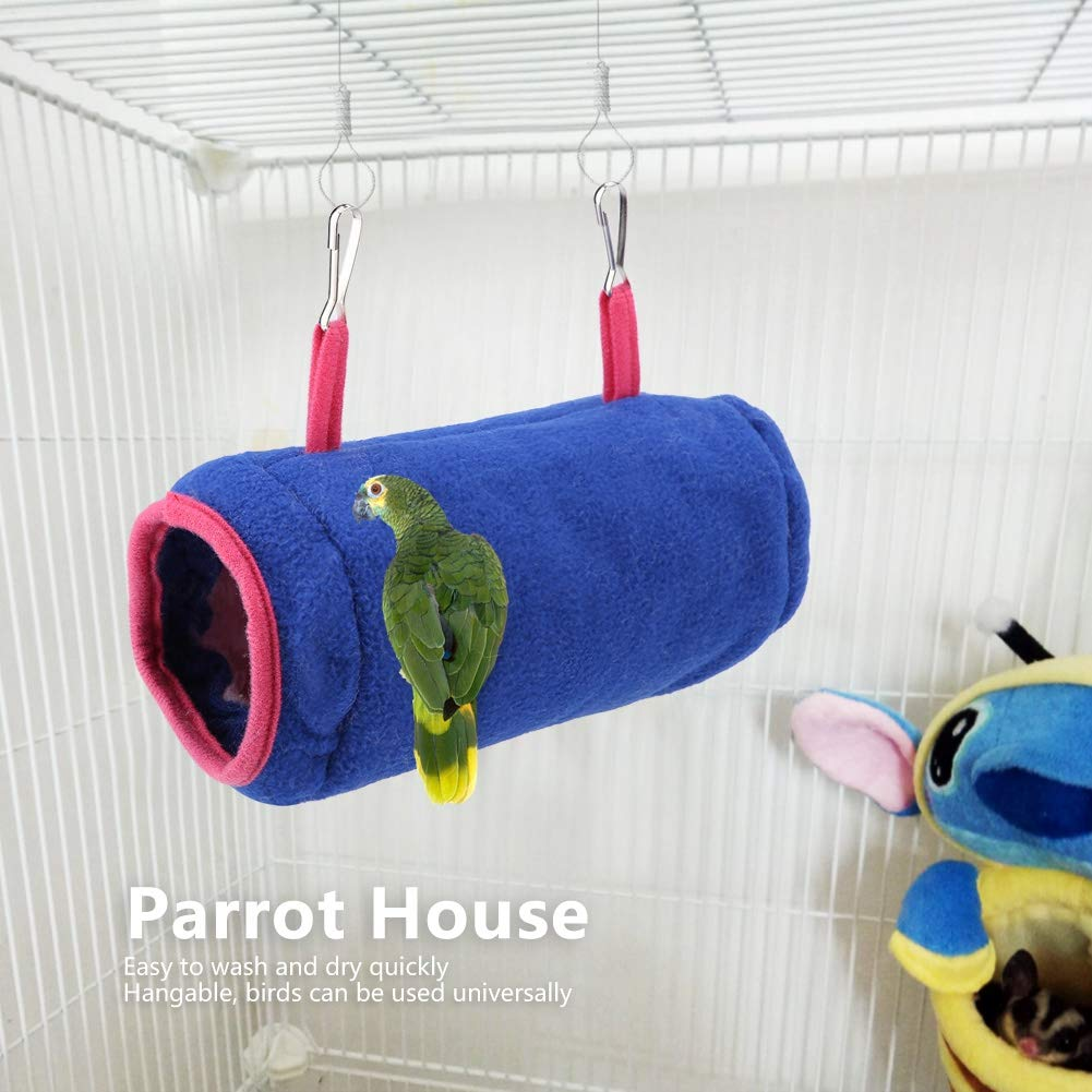 Duokon Winter Warm Plush Fluffy Tunnel Bird Nest House Hanging Hammock Cage Hanging Soft Pet Bed for Kitten Ferret Small Pet Red