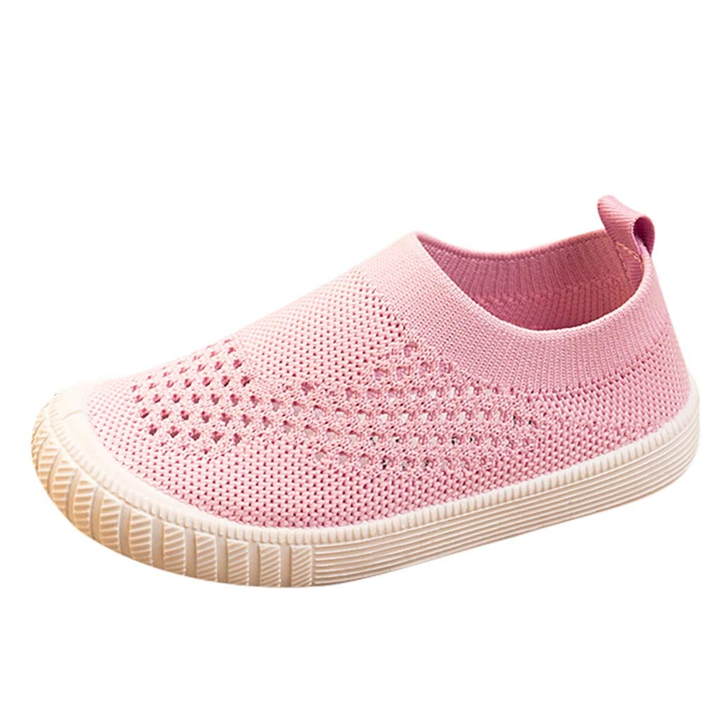 Anxinke Kids Boys Girls Casual Hollowed-out Slip-ons Casual Sneakers (4.5 M US Toddler, Pink) by Anxinke
