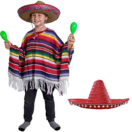 e76ddaf3fd19 CHILD HEAVY MEXICAN PONCHO AND CHILD RED SOMBRERO - CHILDS MEXICAN BOY FANCY  DRESS COSTUME PONCHO + LARGE RED SOMBRERO WILD WEST BANDIT KID   Amazon.co.uk  ...