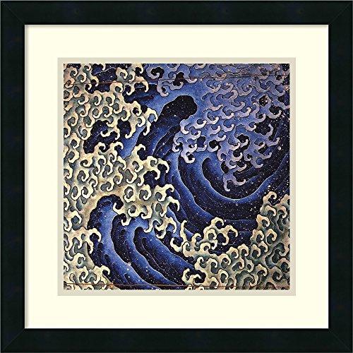 Amanti Art Framed Home Wall Art Prints   Masculine Wave by Katsushika Hokusai   Modern Contemporary, Casual, Classic Decor, X-Small Mezzanotte Black, 93154