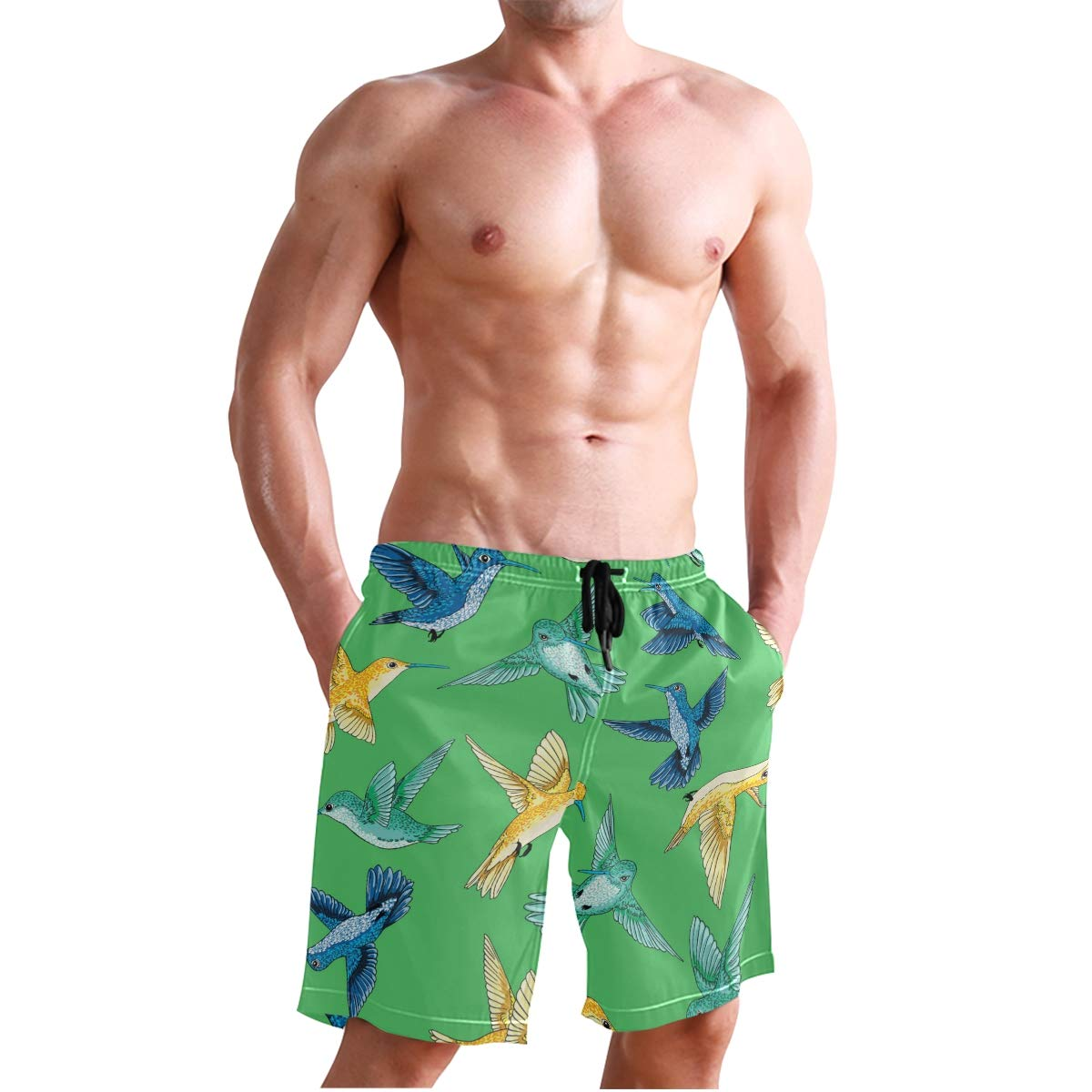 Mens Beach Swim Trunks Birds Pattern Boxer Swimsuit Underwear Board Shorts with Pocket