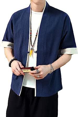 Idopy Camisa Tradicional Japonesa para Hombre Kimono ...