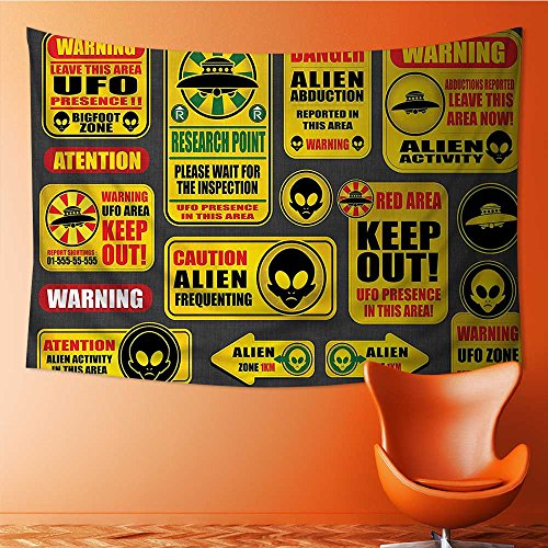 Mandala Tapestry Wall Tapestry Bohemian Wall Hanging Warning Signs with Alien ces Heads Galactic Paranormal Activity Wall Art Wall Decor Beach Tapestry(59W x 39.3L INCH) by also easy