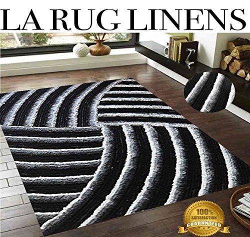 LA Rug Linens Gray Black MonoChrome 3D 8x10 Shaggy Shag Sunrise Design Area Rug Woven Tufted Contemporary Viscose Yarns Thick Pile Bedroom livingroom Deco'r