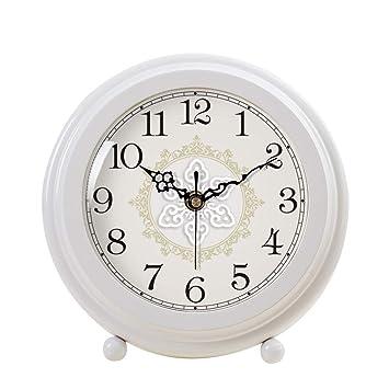 FOOFAY relojes de chimenea familiares Reloj de sobremesa Mute, reloj de cabecera con personalidad de