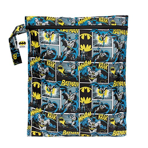 Bumkins DC Comics Batman Waterproof Wet Bag, Washable, Reusable for Travel, Beach, Pool, Stroller, Diapers, Dirty Gym Clothes, Wet Swimsuits, Toiletries, Electronics, Toys, 12x14