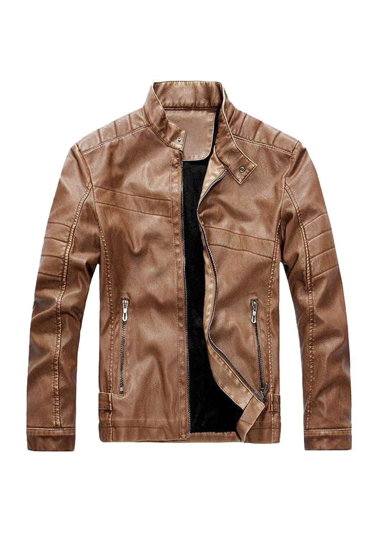 JKQA Men's Vintage Stand Collar Pu Leather Jacket
